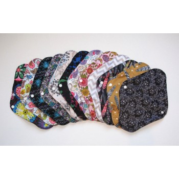 Set of 5 Charcoal Heavy Flow Pads Heavy Flow Cloth Pad Sets - Cloth Mama