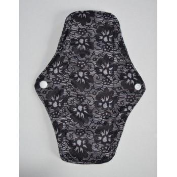 Bamboo Cloth Regular Flow Menstrual Pad - Black Lace