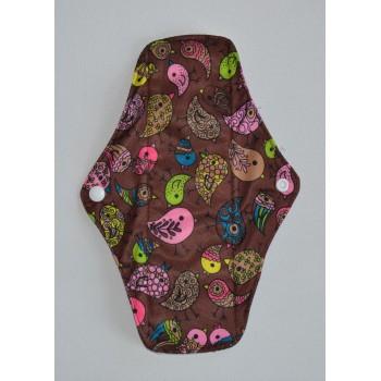 Bamboo Cloth Regular Flow Menstrual Pad - Cute Birdies Brown