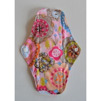 Bamboo Cloth Regular Flow Menstrual Pad - Retro Flowers Pink