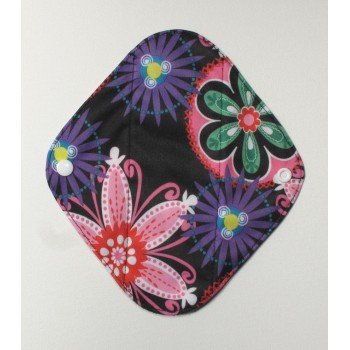 Charcoal Panty Liner / Light Flow Pad - Neon Flowers Charcoal Light Flow Sanitary Pads - Cloth Mama