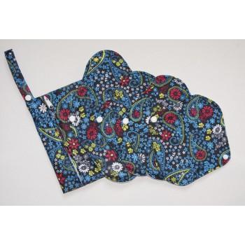 Bamboo 5 Piece Menstrual Pad Set - Blue Paisley Starter Sets - Cloth Mama