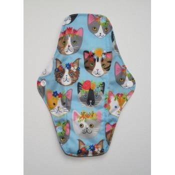 Charcoal Regular Flow Menstrual Pad - Kawaii Cats