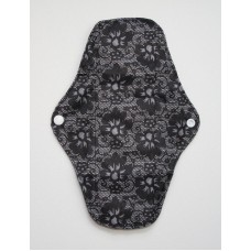 Charcoal Regular Flow Menstrual Pad - Black Lace