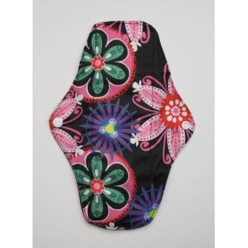 Charcoal Regular Flow Menstrual Pad - Neon Flowers Charcoal Regular Flow Sanitary Pads - Cloth Mama