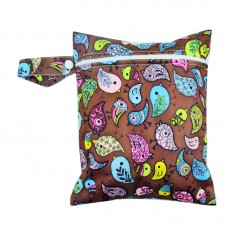 Medium Wet Bag - Vintage Birds Brown