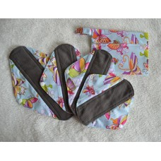Bamboo Charcoal Sanitary Pad Starter Set - Blue Butterflies
